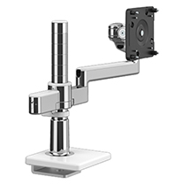 M/Flex with M2.1 Monitor Arm with 25mm Sliding Desk Clamp Mount, Polished Aluminium with White Trim
