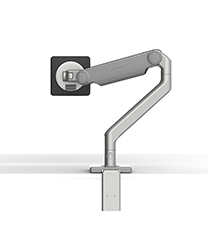 M2.1 MONITOR ARM WITH TWO-PIECE CLAMP MOUNT BASE, SILVER WITH GREY TRIM