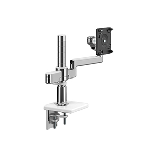 M/Flex with M2.1 Monitor Arm with Clamp Mount Base, Polished Aluminium with White Trim