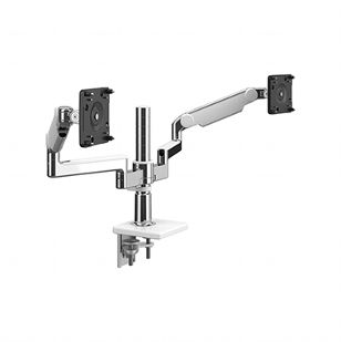 M/Flex with Dual M2.1 Monitor Arm with Clamp Mount, Polished Aluminium with White Trim